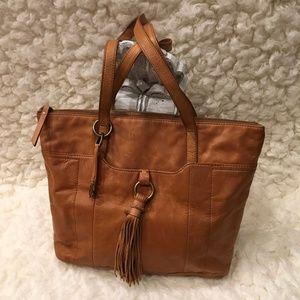 Lucky Brand leather tasseled shoulder bag